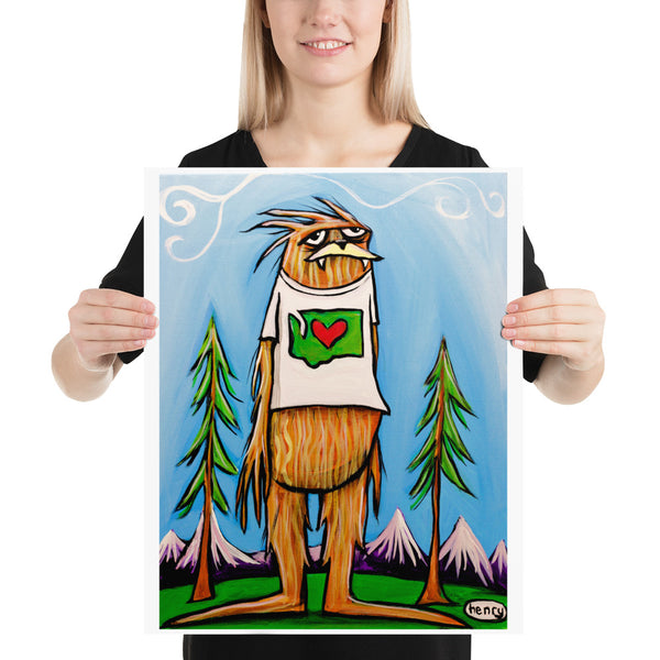 Sasquatch is big in Washington - Henry Print - Art of Henry
