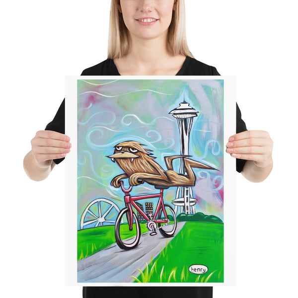 Sasquatch Riding a Bike in Seattle - Henry Print - Art of Henry
