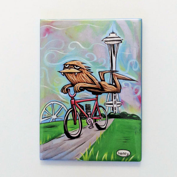 Sasquatch Riding a Bike in Seattle Magnet - Art of Henry