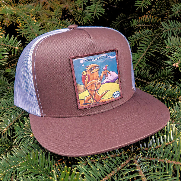 Sasquatch Hiking Mount Rainier Flat Bill Trucker Hat - Art of Henry