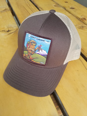 Sasquatch Hiking Trucker Hat - MT Rainier - Art of Henry