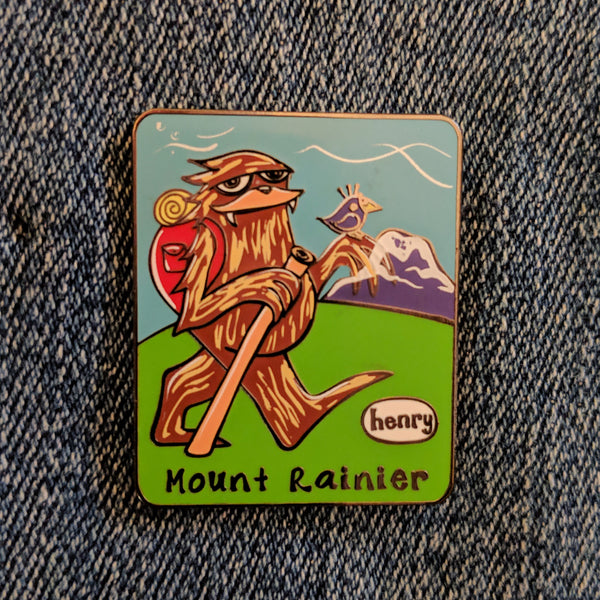 Sasquatch Hiking - Mt Rainier Enamel Pin - Art of Henry