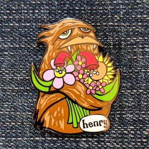 Sasqutch Hugging Flowers Enamel Pin - Art of Henry
