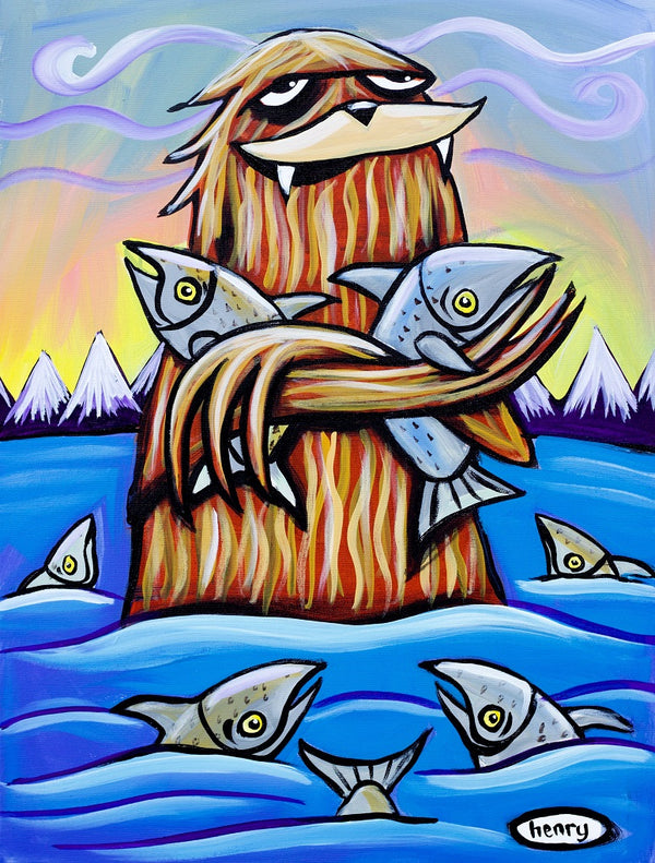 Sasquatch Hugging Salmon Canvas Print - Art of Henry
