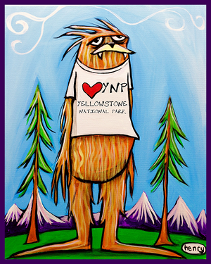Sasquatch is big in Yellowstone Nat. Park Sticker - Art of Henry