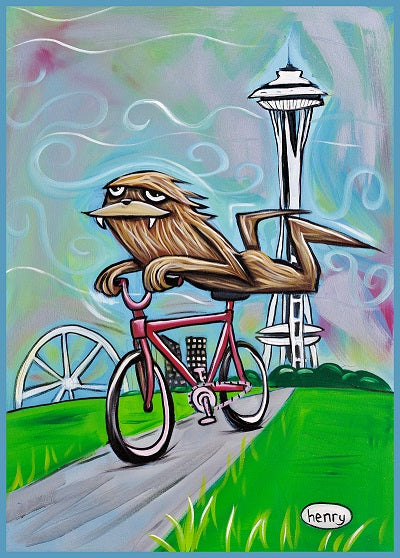 Sasquatch Riding a Bike in Seattle Sticker - Art of Henry