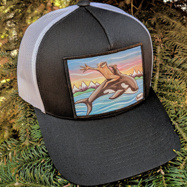 Sasquatch Riding an Orca Trucker Hat - Art of Henry