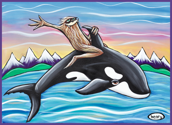 Sasquatch Riding an Orca Sticker - Art of Henry