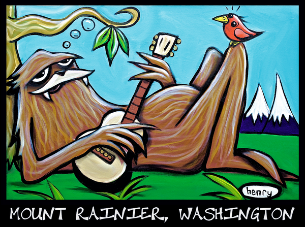Sasquatch Just Chillin' Mount Rainier, Washington Sticker