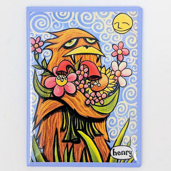 Sasquatch Hugging Flowers Magnet - Art of Henry