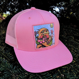 Sasquatch Hugging Flowers Trucker Hat - Art of Henry