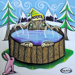 Sasquatch in a Hot Tub Canvas Print - Art of Henry