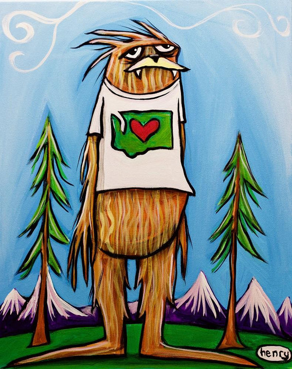 Sasquatch is Big in Washington Canvas Print - Art of Henry