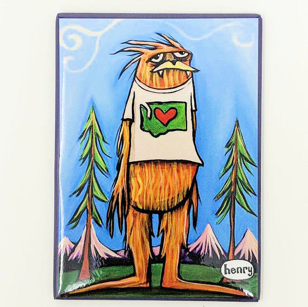 Sasquatch Loves Washington Magnet