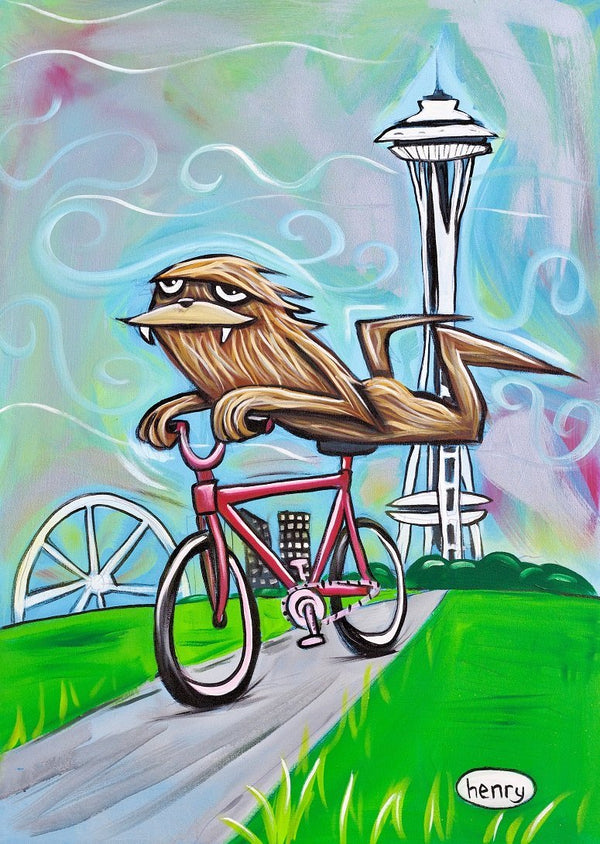 Sasquatch Riding Bike in Seattle Canvas Print - Art of Henry