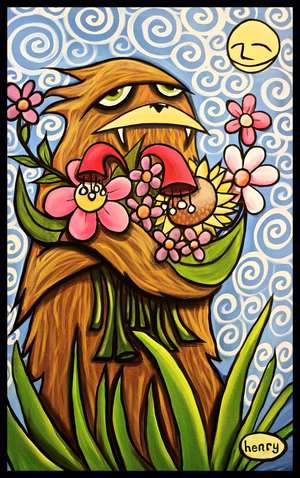 Sasquatch Hugging Flowers Sticker - Art of Henry