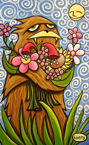 Sasquatch Hugging Flowers Canvas Print - Art of Henry
