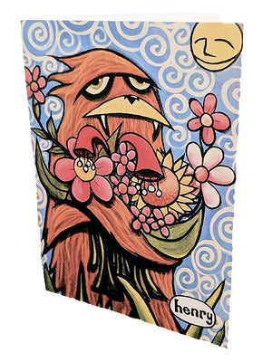 Sasquatch Hugging Flowers Note Card - Art of Henry