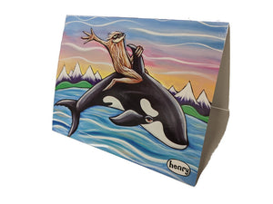 Sasquatch Riding an Orca Note Card - Art of Henry