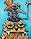 Sasquatch with Crow in Head Canvas Giclee Print Featuring Original Art by Seattle Mural Artist Ryan Henry Ward