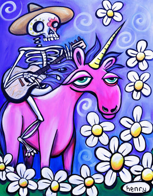 Skeleton Cowboy on a Unicorn Canvas Print - Art of Henry