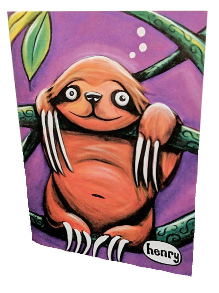 Sloth Hanging Out Note Card - Art of Henry