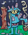 Sloth Stabbed with Crystals Canvas Giclee Print Featuring Original Art by Seattle Mural Artist Ryan Henry Ward