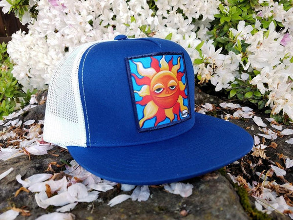 Smiling Sun Flat Bill Trucker Hat - Art of Henry