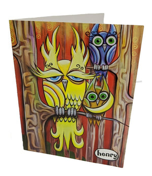 Three Owls Note Card - Art of Henry