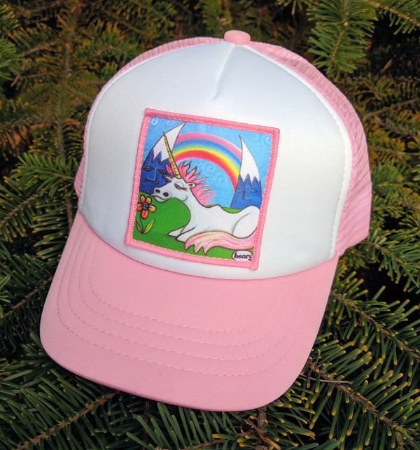 Unicorn Under a Rainbow Little Henry Trucker Hat