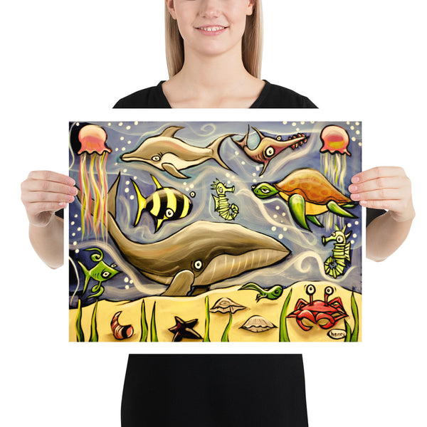Whale and Ocean Critters - Henry Print - Art of Henry