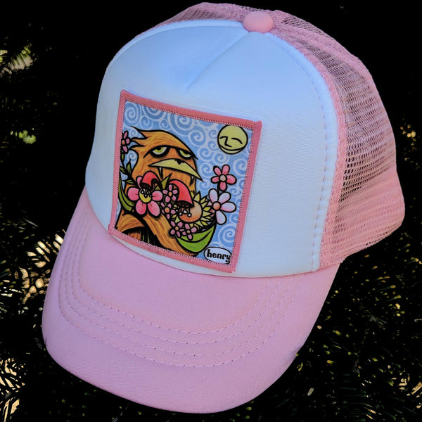 Sasquatch Hugging Flowers Little Henry Trucker Hat - Art of Henry