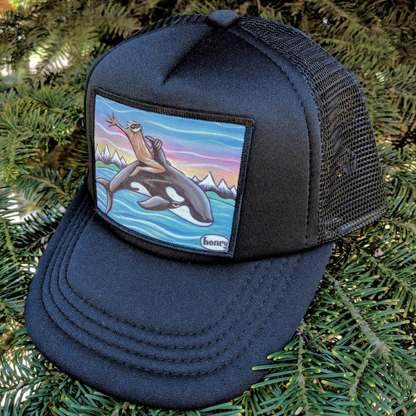 Sasquatch Riding an Orca Little Henry Trucker Hat - Art of Henry