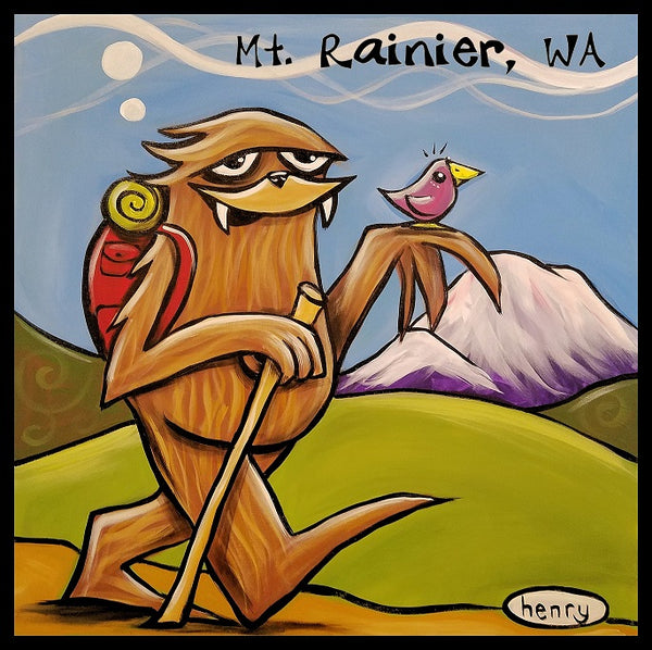 Sasquatch Hiking Sticker Mt. Rainier