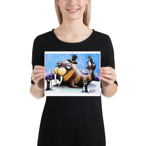 Walrus in Top Hat with Penguins - Henry Print - Art of Henry