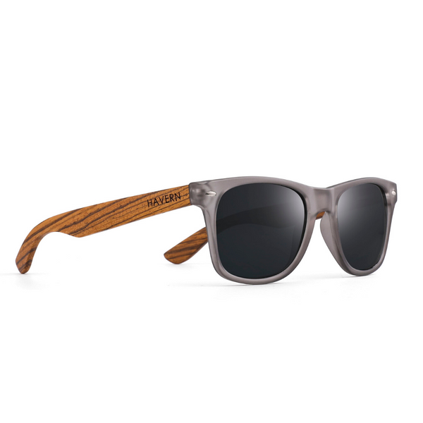 Brooks Gray+Zebrawood Wooden Sunglasses