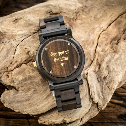wooden watch with gold fill engraving