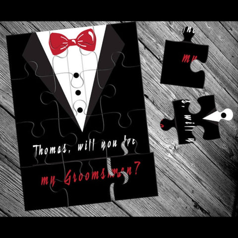 jigsaw puzzle with words asking to be my groomsmen