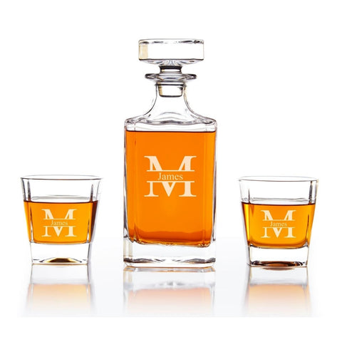 modern monogram engraved whiskey decanter set