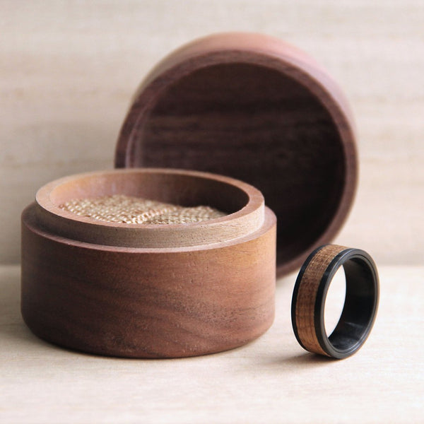 Whiskey Barrel White + Oak Ring with Wooden Case on Table
