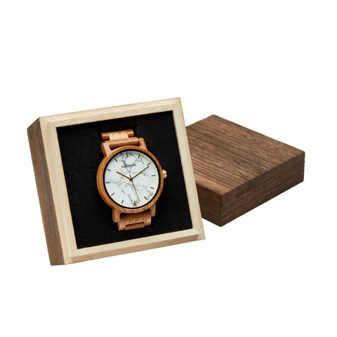 marble watch in wooden gift box