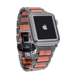 Black Stainless Steel + Red Sandalwood 42-44mm Apple Watch Band - Series 1,2,3,4,5 Apple Watch Bands HAVERN Woodworks