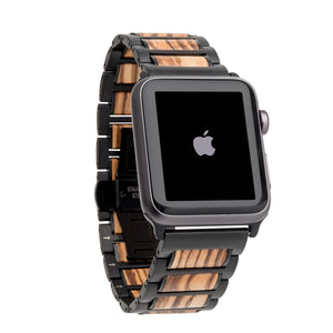 Black Stainless Steel + Zebrawood 38-40mm 42-44mm Apple Watch Bands - Series 1,2,3,4,5 Apple Watch Bands HAVERN Woodworks