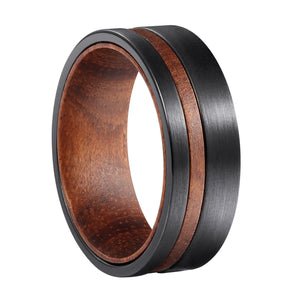 Rosewood + Black Tungsten - Men's Wood Wedding Band Wedding Band HAVERN Watches