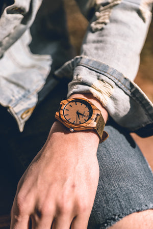 The Olympic Zebrawood | Wooden Watch Leather Band Watches HAVERN Watches
