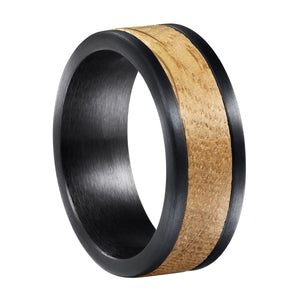 Whiskey Barrel White Oak + Black Tungsten - Men's Wood Wedding Band Wedding Band HAVERN Watches
