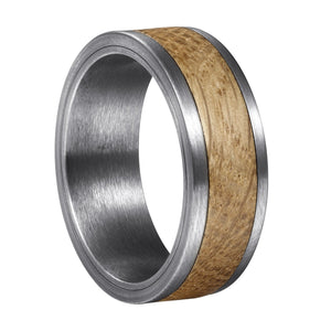 Whiskey Barrel White Oak + Silver Tungsten - Men's Wood Wedding Band Wedding Band HAVERN Watches