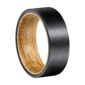 White Oak Whiskey Barrel + Black Tungsten - Men's Wood Wedding Band Wedding Band HAVERN Watches