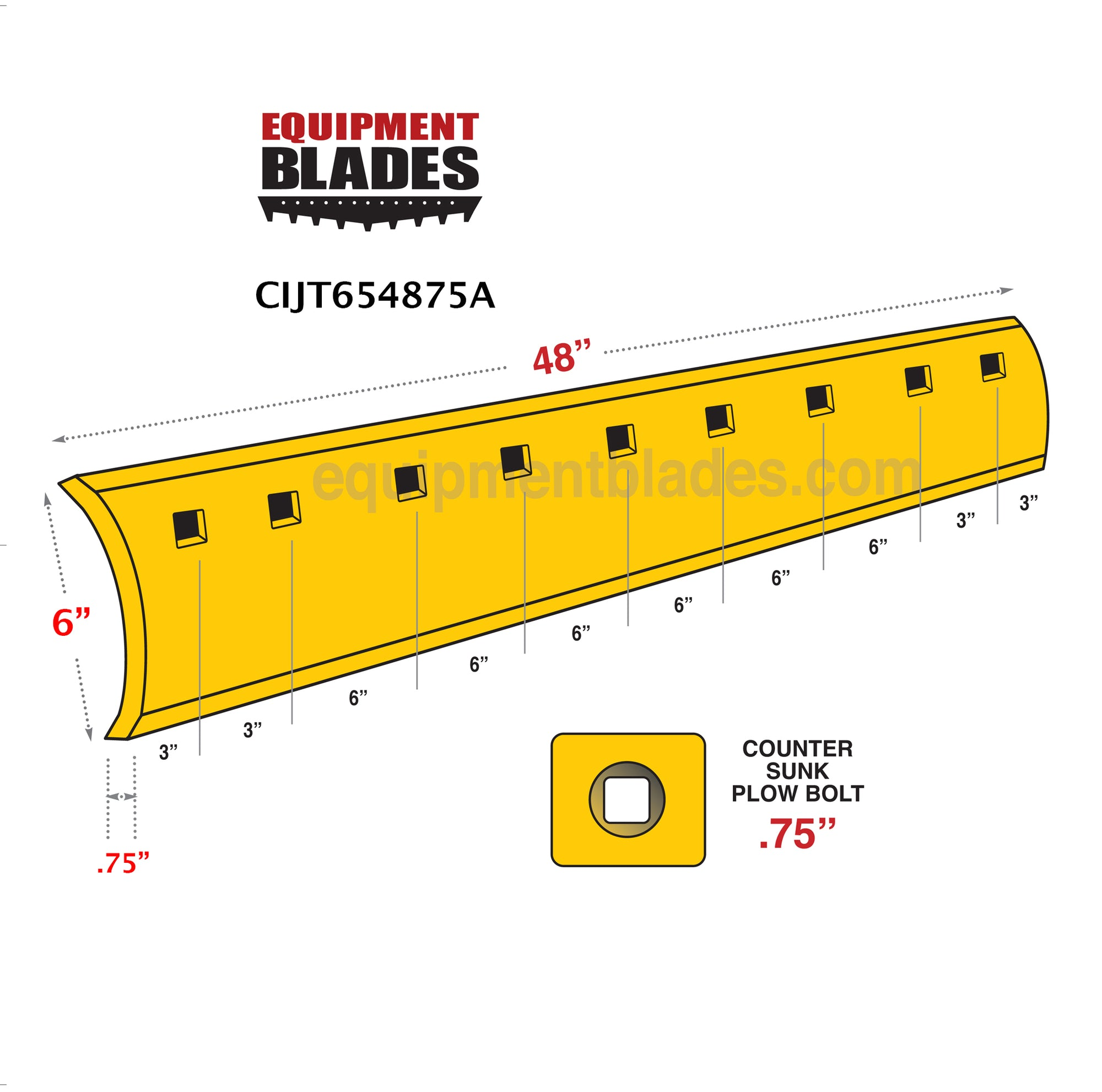 underbody single insert carbide 4' CIJT654875A-Grader Blades-Black Cat Wear Parts-Equipment Blades Inc