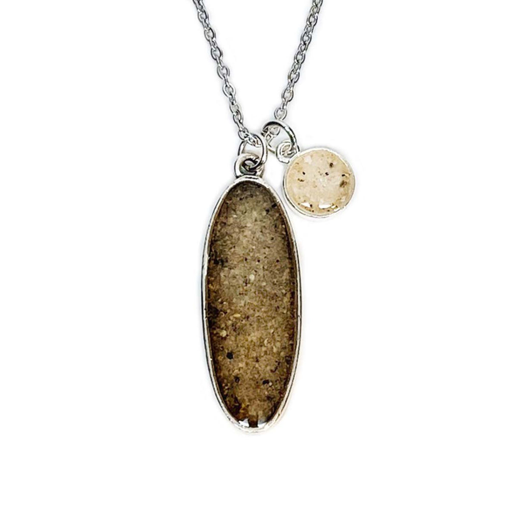 Beach Sand Long Oval Charm Necklace